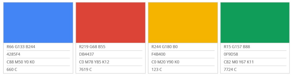 Google Color Palette Values